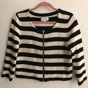 Black & white zip front striped sweater